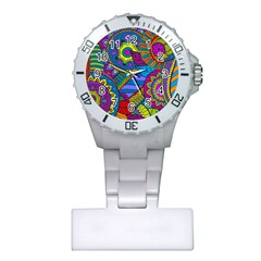 Pop Art Paisley Flowers Ornaments Multicolored Plastic Nurses Watch by EDDArt