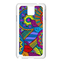 Pop Art Paisley Flowers Ornaments Multicolored Samsung Galaxy Note 3 N9005 Case (white) by EDDArt