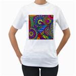 Pop Art Paisley Flowers Ornaments Multicolored Women s T-Shirt (White)