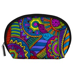Pop Art Paisley Flowers Ornaments Multicolored Accessory Pouches (large)  by EDDArt