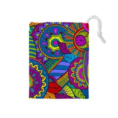 Pop Art Paisley Flowers Ornaments Multicolored Drawstring Pouches (medium)  by EDDArt