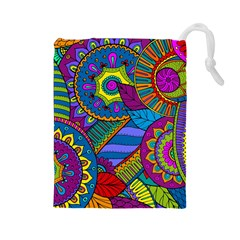Pop Art Paisley Flowers Ornaments Multicolored Drawstring Pouches (large)  by EDDArt