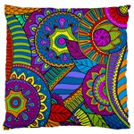 Pop Art Paisley Flowers Ornaments Multicolored Large Flano Cushion Case (Two Sides)