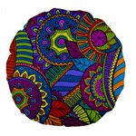 Pop Art Paisley Flowers Ornaments Multicolored Large 18  Premium Flano Round Cushions