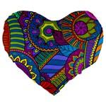 Pop Art Paisley Flowers Ornaments Multicolored Large 19  Premium Flano Heart Shape Cushions