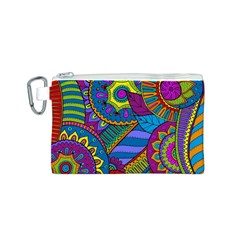 Pop Art Paisley Flowers Ornaments Multicolored Canvas Cosmetic Bag (s) by EDDArt