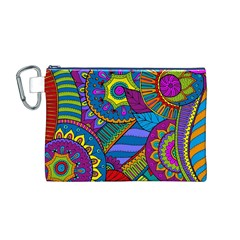 Pop Art Paisley Flowers Ornaments Multicolored Canvas Cosmetic Bag (m) by EDDArt