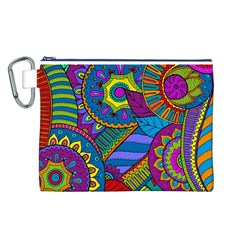 Pop Art Paisley Flowers Ornaments Multicolored Canvas Cosmetic Bag (l) by EDDArt