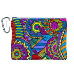 Pop Art Paisley Flowers Ornaments Multicolored Canvas Cosmetic Bag (xl) by EDDArt