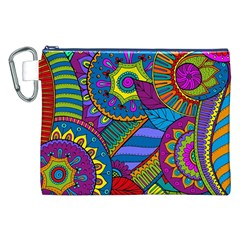 Pop Art Paisley Flowers Ornaments Multicolored Canvas Cosmetic Bag (xxl) by EDDArt