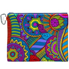 Pop Art Paisley Flowers Ornaments Multicolored Canvas Cosmetic Bag (xxxl) by EDDArt