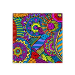 Pop Art Paisley Flowers Ornaments Multicolored Satin Bandana Scarf by EDDArt