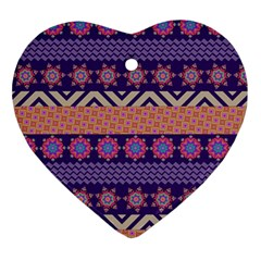 Colorful Winter Pattern Ornament (heart)  by DanaeStudio