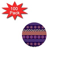 Colorful Winter Pattern 1  Mini Buttons (100 Pack)  by DanaeStudio