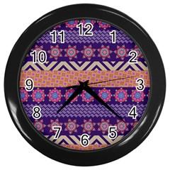 Colorful Winter Pattern Wall Clocks (black) by DanaeStudio