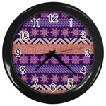Colorful Winter Pattern Wall Clocks (Black)