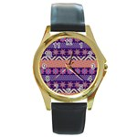 Colorful Winter Pattern Round Gold Metal Watch