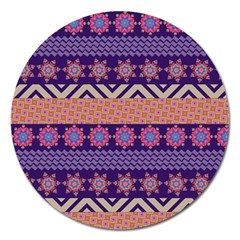 Colorful Winter Pattern Magnet 5  (round) by DanaeStudio