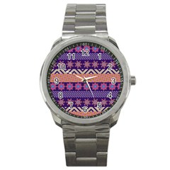 Colorful Winter Pattern Sport Metal Watch by DanaeStudio