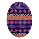 Colorful Winter Pattern Oval Ornament (Two Sides)