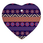 Colorful Winter Pattern Heart Ornament (2 Sides)