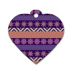 Colorful Winter Pattern Dog Tag Heart (Two Sides)