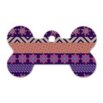 Colorful Winter Pattern Dog Tag Bone (One Side)
