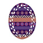 Colorful Winter Pattern Oval Filigree Ornament (2-Side)