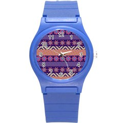 Colorful Winter Pattern Round Plastic Sport Watch (s) by DanaeStudio