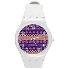 Colorful Winter Pattern Round Plastic Sport Watch (m) by DanaeStudio