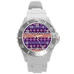Colorful Winter Pattern Round Plastic Sport Watch (L)
