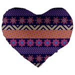 Colorful Winter Pattern Large 19  Premium Heart Shape Cushions