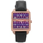 Colorful Winter Pattern Rose Gold Leather Watch