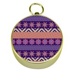 Colorful Winter Pattern Gold Compasses