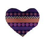 Colorful Winter Pattern Standard 16  Premium Flano Heart Shape Cushions
