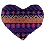 Colorful Winter Pattern Large 19  Premium Flano Heart Shape Cushions