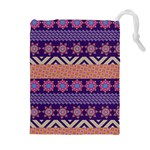 Colorful Winter Pattern Drawstring Pouches (Extra Large)