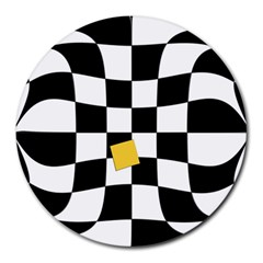Dropout Yellow Black And White Distorted Check Round Mousepads by designworld65