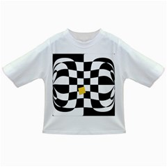 Dropout Yellow Black And White Distorted Check Infant/toddler T Shirts by designworld65