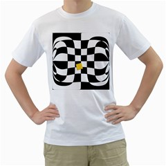 Dropout Yellow Black And White Distorted Check Men s T Shirt (white) (two Sided) by designworld65