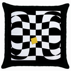 Dropout Yellow Black And White Distorted Check Throw Pillow Case (black) by designworld65