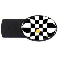 Dropout Yellow Black And White Distorted Check Usb Flash Drive Oval (2 Gb)  by designworld65