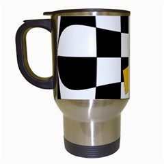 Dropout Yellow Black And White Distorted Check Travel Mugs (white) by designworld65