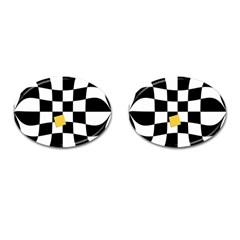 Dropout Yellow Black And White Distorted Check Cufflinks (oval) by designworld65