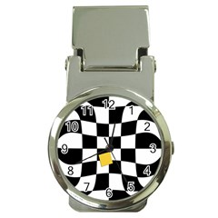 Dropout Yellow Black And White Distorted Check Money Clip Watches by designworld65