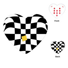 Dropout Yellow Black And White Distorted Check Playing Cards (heart)  by designworld65