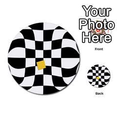 Dropout Yellow Black And White Distorted Check Multi Purpose Cards (round)  by designworld65