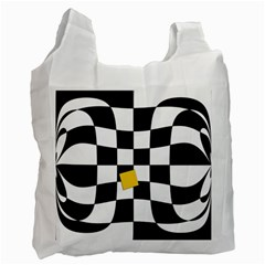 Dropout Yellow Black And White Distorted Check Recycle Bag (two Side)  by designworld65