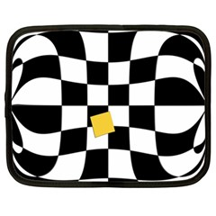 Dropout Yellow Black And White Distorted Check Netbook Case (xl)  by designworld65
