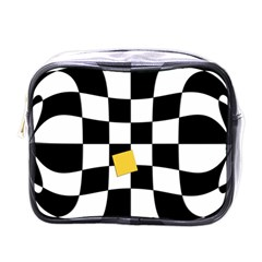 Dropout Yellow Black And White Distorted Check Mini Toiletries Bags by designworld65